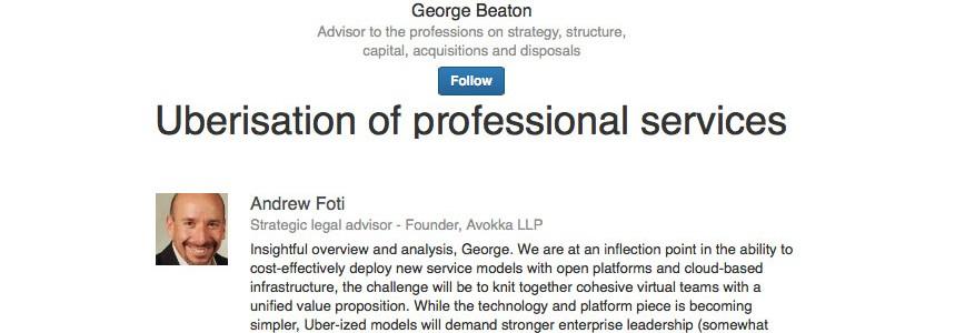 Uberisation of professional services